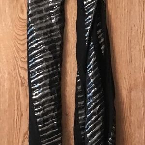 Scarf Womens Black Silver Stripe with Fringe